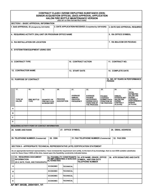 AF IMT Form 3953B Fillable Pdf