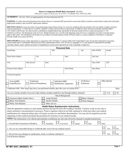 AF IMT Form 4321 Printable Pdf