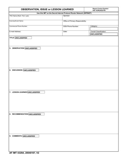 AF IMT Form 4329A  Printable Pdf