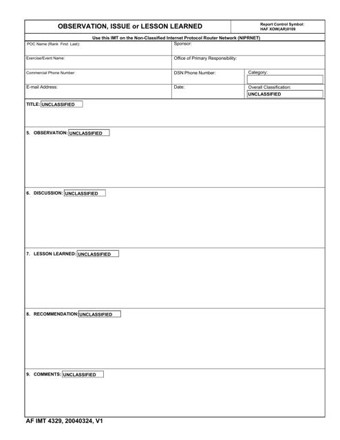 AF IMT Form 4329  Printable Pdf
