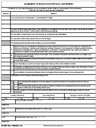 AF IMT Form 444 Advisement of Rights Upon Pretrial Confinement