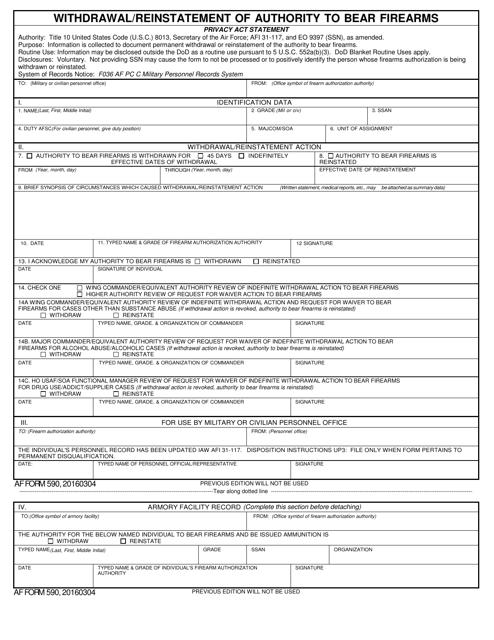 AF Form 590 Printable Pdf