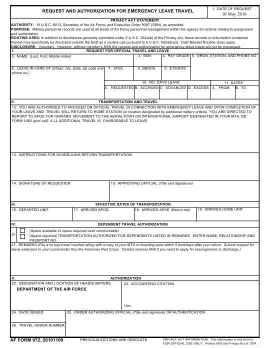 AF Form 972 Fillable Pdf
