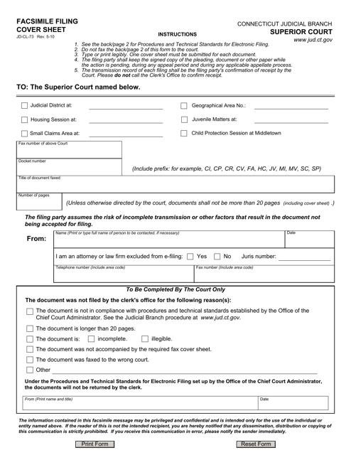 Form JD-CL-73  Printable Pdf