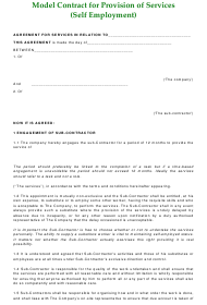 """contract Template for Provision of Services (Self-employment)"""