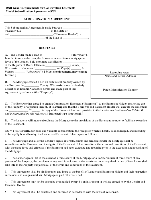 """Subordination Agreement Form"" - Wisconsin Download Pdf"