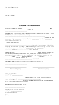 """Subordination Agreement Template"" - Montana"