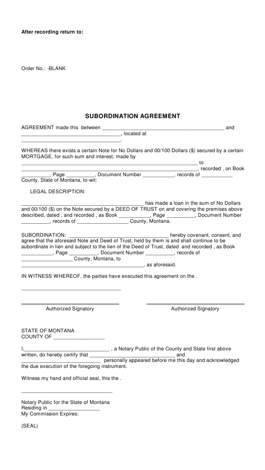 Subordination Agreement Template - Montana Download Pdf