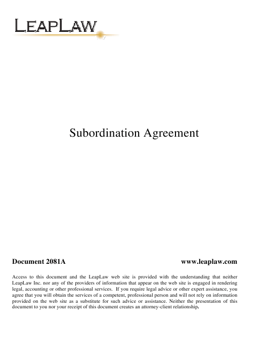 """Subordination Agreement Template"" Download Pdf"