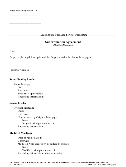 """""""Subordination Agreement Template (Modified Mortgage)"""" Download Pdf"""