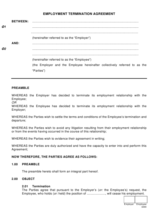 Employment Termination Agreement Template Download Pdf