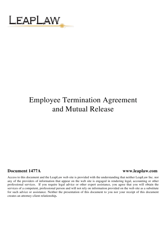 Employee Termination Agreement and Mutual Release Template Download Pdf