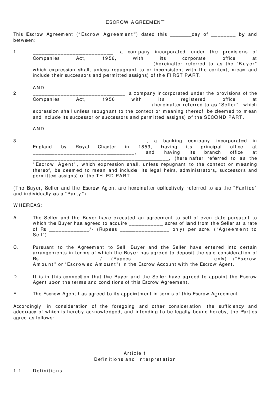 Escrow Agreement Template Download Printable Pdf