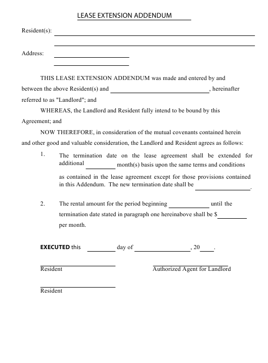 Lease Extension Addendum Template Download Pdf