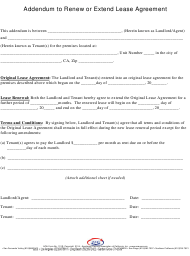 Addendum to Renew or Extend Lease Agreemet Template - Aqa - California