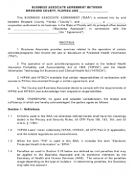 Business Associate Agreement Template Download Printable Pdf