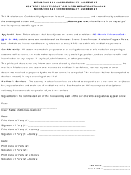 """Mediation and Confidentiality Agreement Template"" - Monterey County, California"