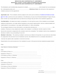 Mediation and Confidentiality Agreement Template - Monterey County, California