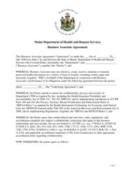 """""""Business Associate Agreement Template"""" - Maine"""