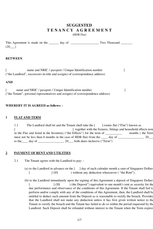 Suggested Tenancy Agreement Template Download Pdf