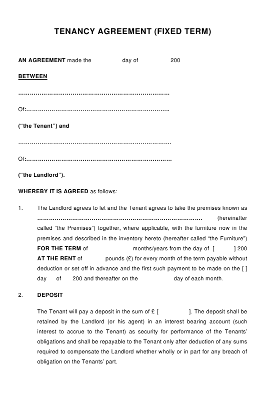 Tenancy Agreement Template (Fixed Term) - United Kingdom Download Pdf