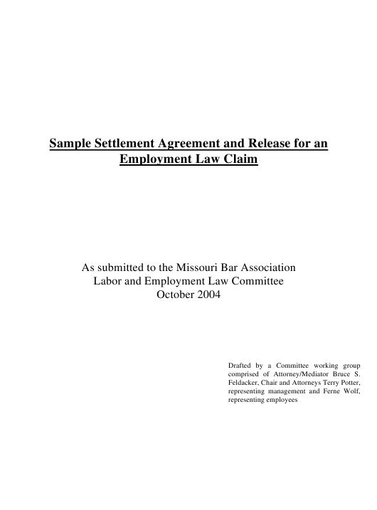 Sample Settlement Agreement and Release for an Employment Law Claim - Missouri Download Pdf