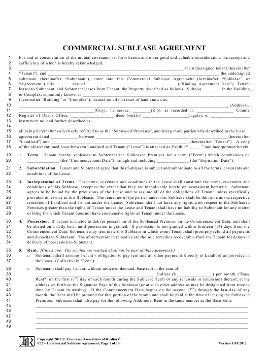 Commercial Sublease Agreement Template Tennessee Association Of