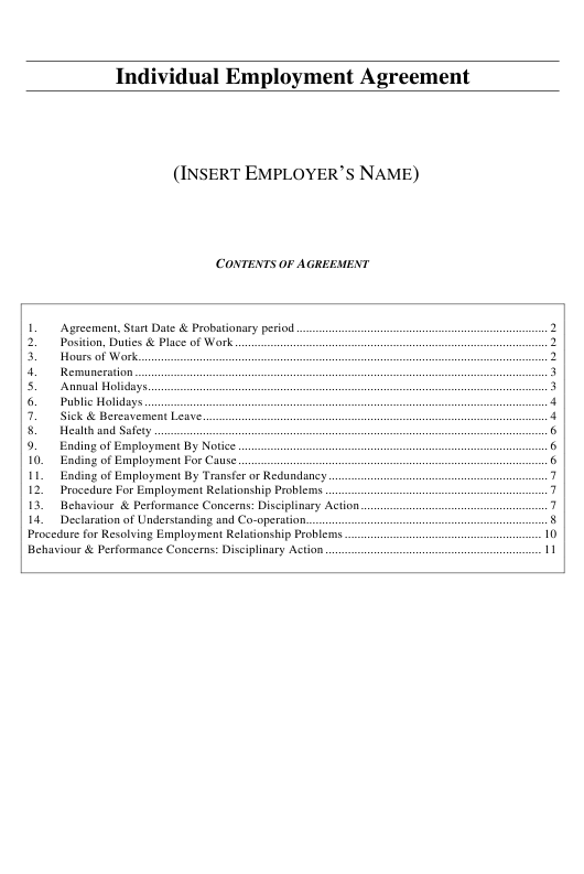 Individual Employment Agreement Template - New Zealand Download Pdf