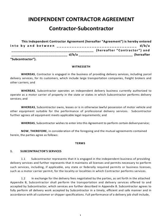 Independent Contractor Agreement Template Download Pdf