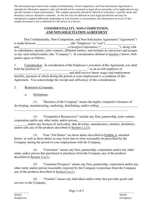 Confidentiality, Non-competition, and Non-solicitation Agreement Template - American Arbitration Association - Georgia Download Pdf