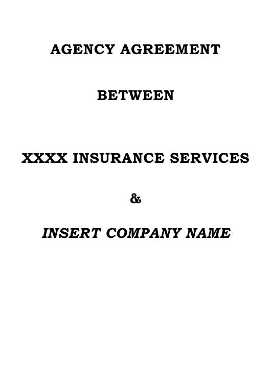 Agency Agreement Template Download Pdf