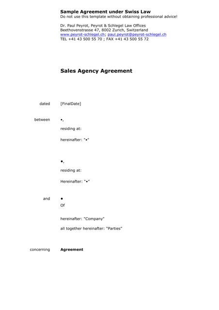 Sample Agreement Under Swiss Law - Canton of Zurich Switzerland Download Pdf