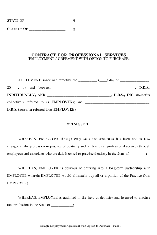 Contract Template for Professional Services Download Pdf