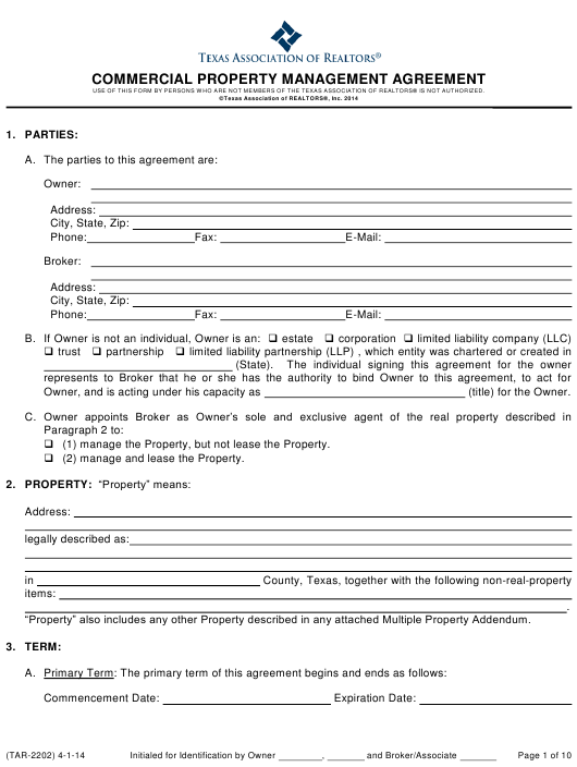 Commercial Property Management Agreement Template Texas