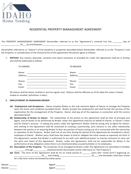 Residential Property Management Agreement Template - Idaho Home Tending - Idaho Download Pdf