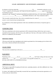 """Lease Amendment and Extension Agreement Template"""