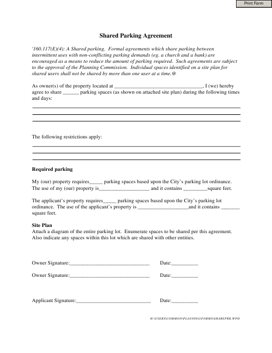 """Shared Parking Agreement Template"" Download Pdf"