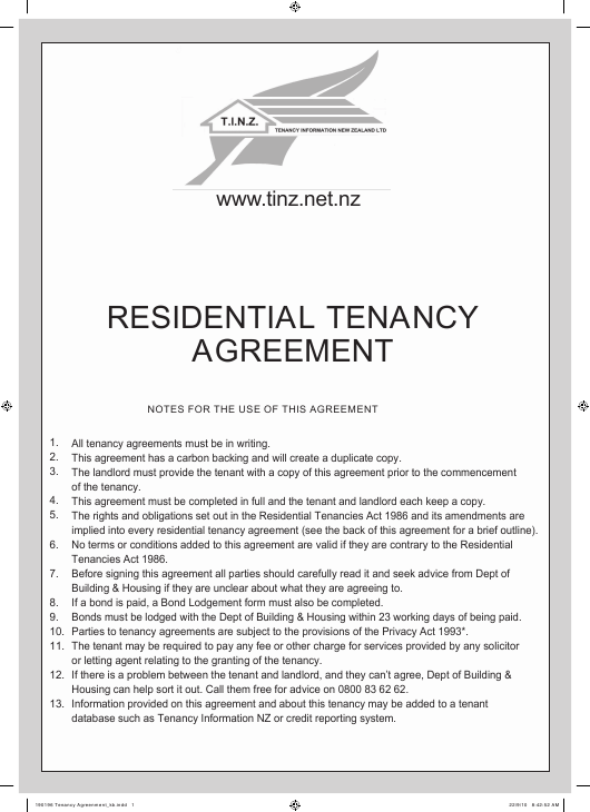 Residential Tenancy Agreement Template - T.i.n.z - New Zealand Download Pdf