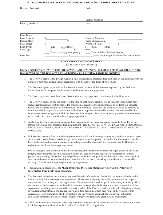 """Loan Brokerage Agreement and Loan Brokerage Disclosure Statement Template"" - Illinois Download Pdf"