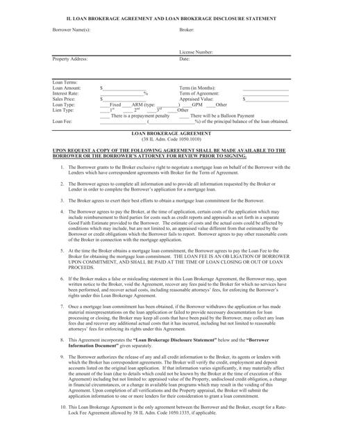 Loan Brokerage Agreement And Loan Brokerage Disclosure Statement