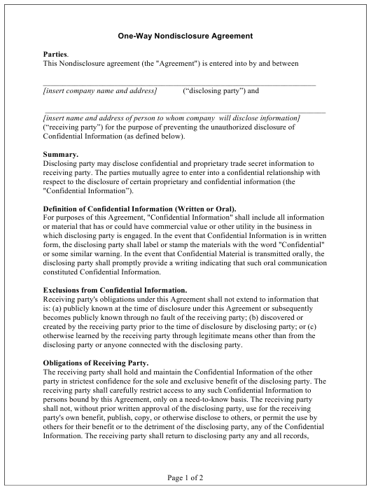 """""""One-Way Nondisclosure Agreement Template"""" Download Pdf"""