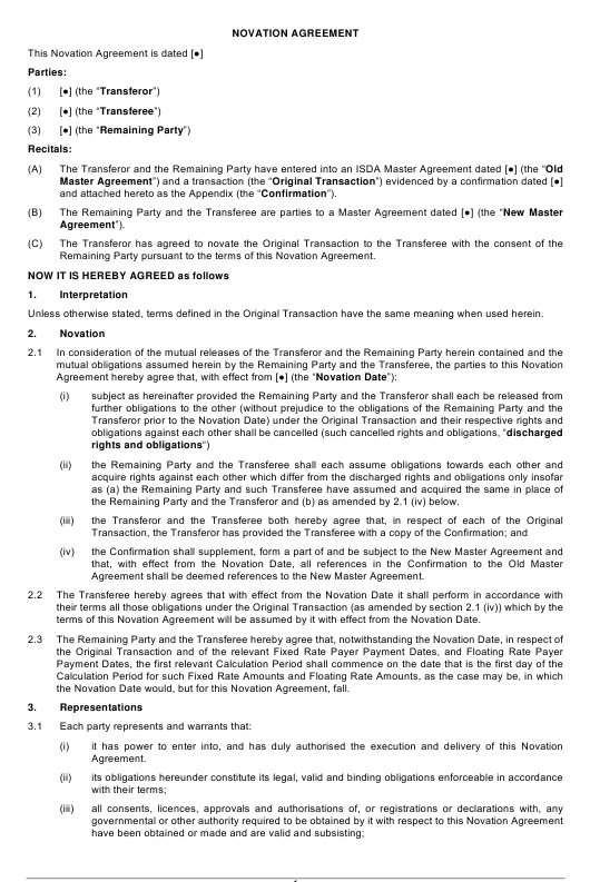 Novation Agreement Template Download Pdf