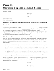 Sample Security Deposit Demand Letter Template - Massachusetts
