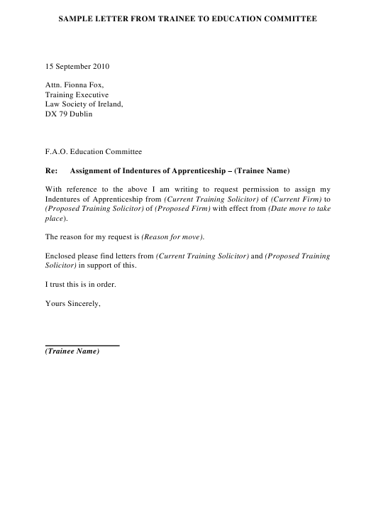 Sample Letter From Trainee to Education Committee - Dublin Ireland Download Pdf
