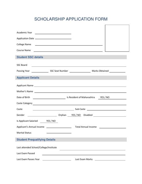 Scholarship Application Form Download Pdf