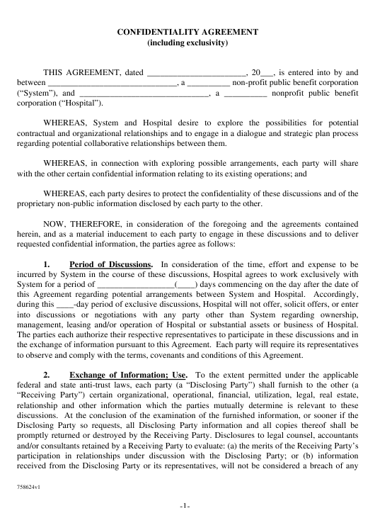 Confidentiality Agreement Template Download Pdf