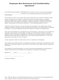 """Employee Non-disclosure and Confidentiality Agreement Template"""