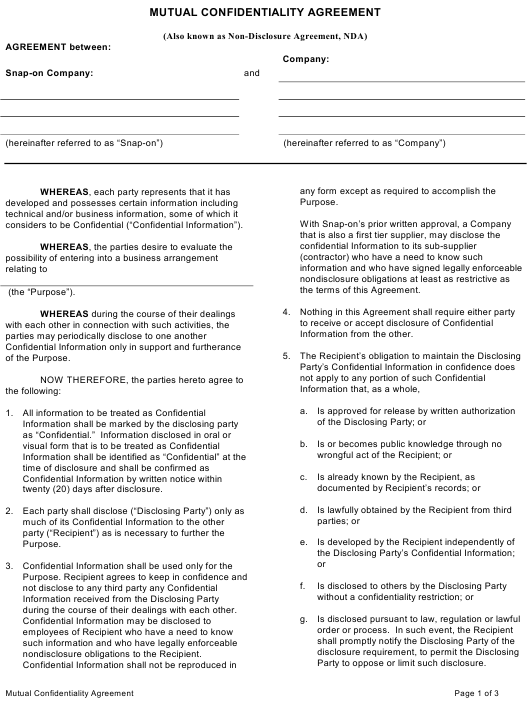 """""""Mutual Confidentiality Agreement Template"""" Download Pdf"""