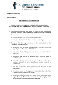 """Confidentiality Agreement Template - Legal Services Commission"" - South Australia, Australia"