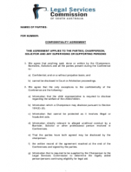 confidentiality agreement template legal services commission south australia